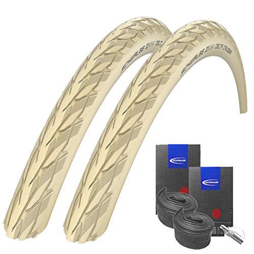 Reifenset : 2 x Schwalbe Delta Cruiser Creme 37-622 / 28x1.40 + Schwalbe Schläuche Dunlopventil