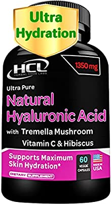 Natural Hyaluronic Acid Supplement 5X Stronger Hydration Pills from Pure Tremella Mushroom with Vitamin C & Hibiscus - Anti-Aging Skin Supplement Anti Wrinkle Capsules