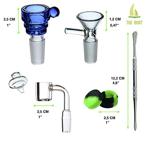 Product Image 8: Bong Cristal THE BOAT - VERONICA 13 cm - Con percolador + Grinder + Bowls + Accesorios. Hecho a mano - Para su uso en tabaco.
