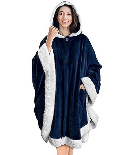 WGDPMGM Manta Manta con Capucha con Capucha Moja de Gran tamaño para Mujer Sudaderas Sueltas Casual Velvet Lazy Manta Doble Bolsillo Mantón de Peluche Rojo (Color : Blue, Size : One Size)