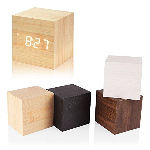 SPGHOME Digitaler Wecker, Holz Würfel Uhr mit Holz Elektronische LED Zeitanzeige Mini Holzwürfel Design Schreibtischuhr Sprachsteuerung Timer Kalender