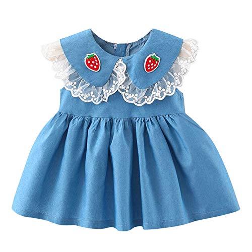 YWLINK Vestido Pana para Beb Vestidos para NiAs Princesa Infantil Falda Fiesta con Bowknot Solapa De Encaje Color SLido Mangas ElSticas Lindo