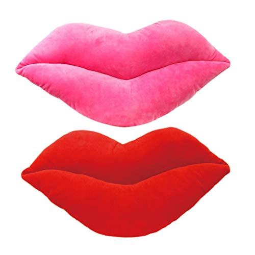 Amosfun 2 Piezas Almohadas Lanza Almohada cojín del sofá cojín Lindo de los Labios Almohada del sofá Almohada en Forma de Labio para el sofá casero (Rojo Rosado)