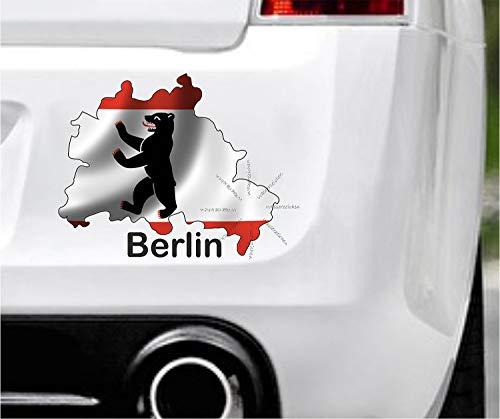 Sticker-Designs 45cm! Klebe-Folie Wetterfest Made-IN-Germany:Berlin-Haupt-Stadt-Flagge D07 UV&Waschanlagenfest Auto-Aufkleber Profi-Qualität!