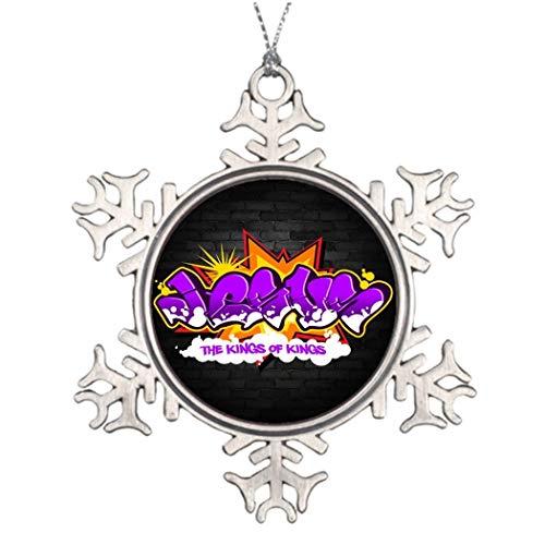 DKISEE Christmas Trees Decorated Jesus Hip Hop Graffiti Tree Decoration Ideas 3 Inches Aluminum Metal Christmas Ornament Keepsake