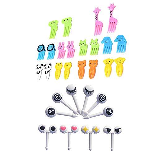 Bobury 20pcs/Set Mini Augen Karikatur Ausdruck Cartoon Tier Obstgabel Frucht Gabel Plastikfrucht Zahnstocher für Kinder Mini Cartoon Snack Kuchen Dessert Essen Obst Zahnstocher