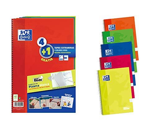Pack 4+1 Cuadernos Folio(A4) Oxford. Tapa Extradura Write&Erase. 80 Hojas cuadrícula 4x4. Surtido vivos