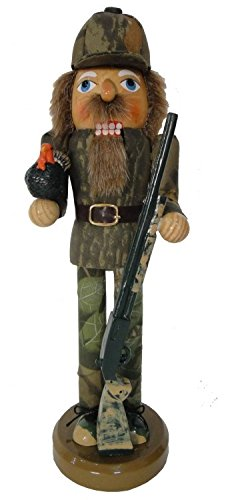 Santa's Workshop Turkey Hunter in Camouflage Holding Rifle Wooden Christmas 14 Inch Nutcracker