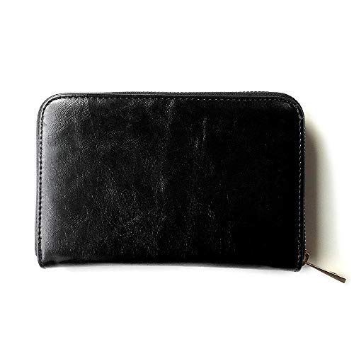 (JOIN・K)通帳ケース ジャバラ 革 シンプル 銀行 通帳入れ カードケース レディース 大容量 ブラック