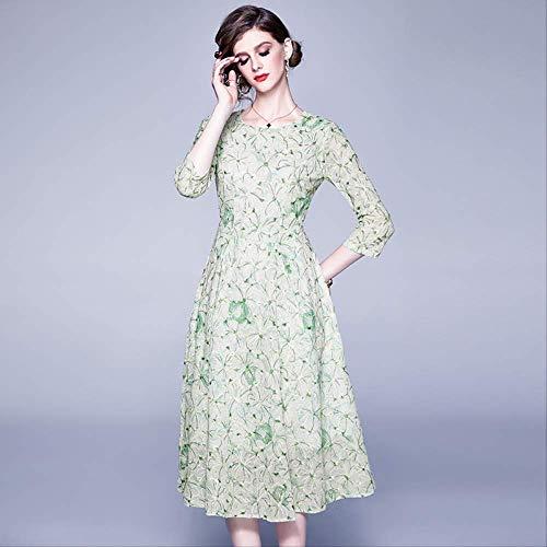 QUNLIANYI Elegantes Blumenstickerei Damen Sommer Chiffon Kleid Hellgrüne Spitze O Hals Midi Party Kleid Büro L