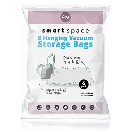 figg Vakuumbeutel mit Kleiderhaken (6er Set) - 2 Größen - 100% dicht, extra robust und BPA-frei - Vakuum Aufbewahrungsbeutel zum Aufhängen für Mäntel, Jacken und vieles mehr