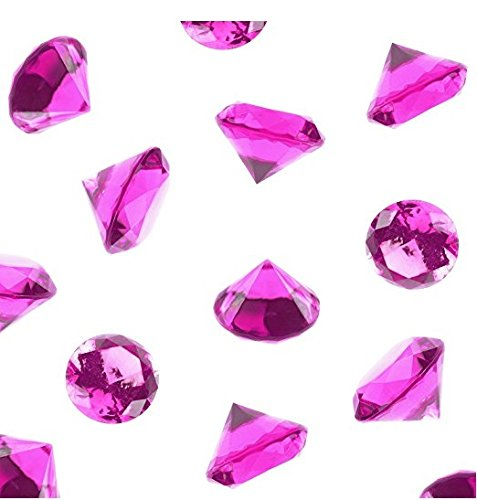 Anrox Supply Co. Acrylic Color Faux Round Diamond Crystals Treasure Gems for Table Scatters, Vase Fillers, Event, Wedding, Birthday Decoration Favor, Arts & Crafts (1 Pound, 240 Pieces) (Fuchsia)