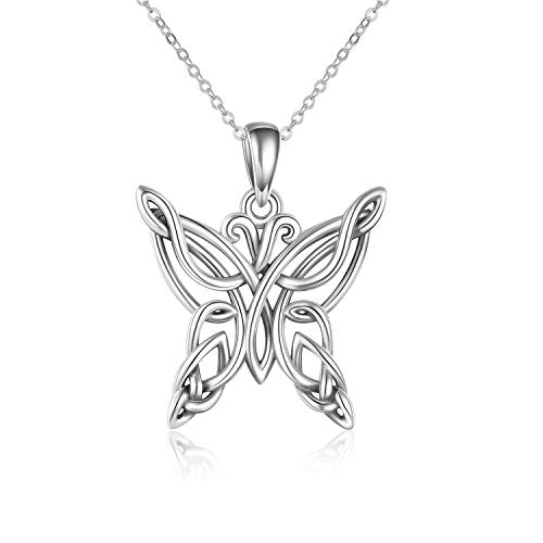 POPKIMI Celtic Butterfly Pendant Necklace Mothers Day Sterling Silver Jewelry Gifts for Mom Ladies Women