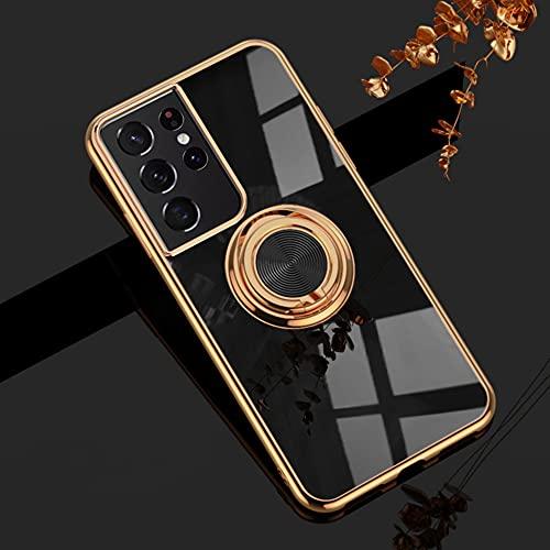 EYZUTAK Funda de anillo magnético galvanizado, 360 grados con rotación de metal anillo de dedo titular imán coche titular suave silicona a prueba de golpes para Samsung Galaxy S21 Ultra - negro