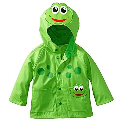 Chubasquero con capucha impermeable para niños y niñas, verde, 5-6 Años