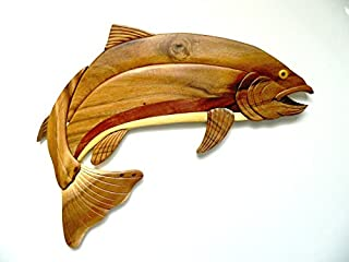 Handmade Rainbow Trout Fish Wooden Oval Wall Plaque
