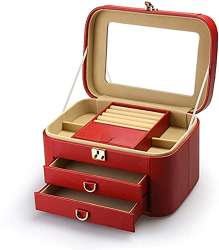 POUAOK Joyero Mediano de Cuero, Organizador para Mujeres, Organizador de Almacenamiento de Maquillaje con Cerradura, Caja de tocador Simple fácil de Llevar (Color: Rojo)