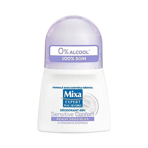 Mixa – Deodorant Bille für empfindliches Wasser, Sensitive Komfort, ohne Salze, Aluminium, Effizienz 48 h, 50 ml, 1 Stück