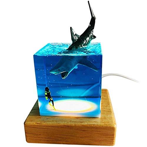 Creativity Resin LED Night Light Shark Statue USB Bedside Lamp for Children Bedroom Room Decor