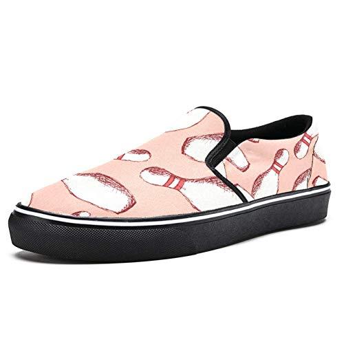 TIZORAX Bowling-Pins Slip on Loafer Schuhe für Herren Jungen Mode Canvas Flach Bootsschuh, Mehrfarbig - mehrfarbig - Größe: 36 2/3 EU