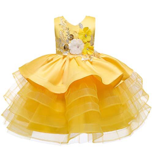 INLLADDY Mädchen Ärmellos Stickerei Prinzessin Festzug Kleider Abschlussball Ballkleid Party Brautkleider Kinder Gelb 5-6 Jahre