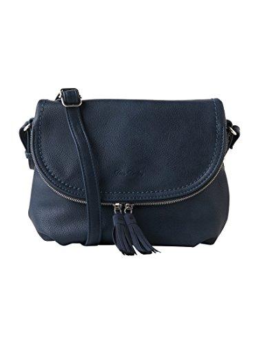TOM TAILOR Damen Taschen & Geldbörsen Umhängetasche mit Quasten-Detail dark blue cognac,OneSize