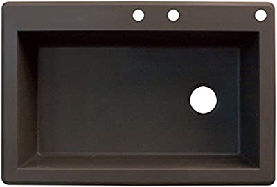33-in L x 22-in W x 8.8125-in H Transolid ATDD3322-12-BACD Aversa Granite 4-Hole Drop-in Double-Bowl Kitchen Sink Espresso