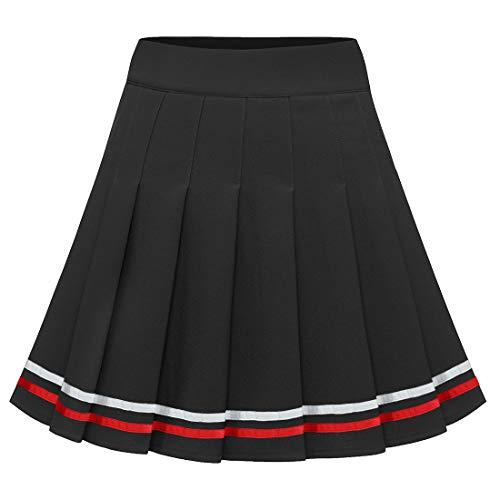 Dressystar Damen Basic Vielseitig Faltenrock Dehnbar Mädchen Informell Mini Glocken Rock Black WhiteRed Strip XL