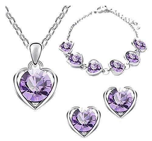 Hosaire - Parure di collana e orecchini da donna, stile retrò, elegante e cristallo, con ciondolo a forma di cuore, collana e orecchini, bracciale