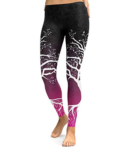 JFAN Pantalones de Yoga Mujer Patrón de árbol Leggings Mujer Pilates Pantalones de Chándal de Jogging Holgados Pantalones Deportivos Push Up Leggings Athletic Fitness