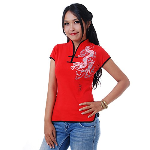 Damen Asia China Yoga,Tai Chi & Meditations Shirt Baumwolle Rot S