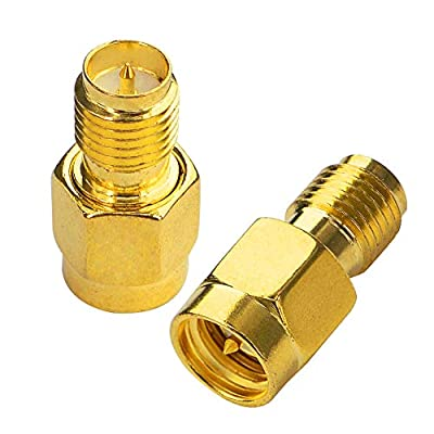 BOOBRIE SMA Male Plug to RP-SMA Female SMA RF Straight Connector Gold Plated Adapter or FPV Drone for Antenna Plug Pack Wireless LAN Device Pack of 2