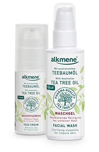 alkmene Teebaumöl Waschgel & Gesichtscreme für unreine Haut - Anti Pickel, Hautunreinheiten & Rötungen Reinigungsgel - vegane Gesichtspflege ohne Silikone, Parabene & Mineralöl
