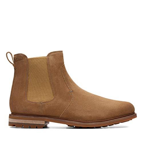 Clarks Herren Foxwell Top Chelsea Boots, Beige (Dark Sand Suede Dark Sand Suede), 46 EU