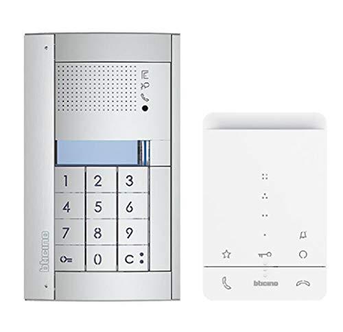 Bticino 364235 Juego de Portero automático de 2 Cables para 1 casa Familiar con estación de Audio SFERA Allmetal y código numérico, Clase 100 A16E y conexión de Red, Blanco, 14 cm
