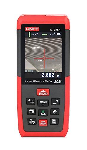 UNI-T Misuratore di Distanza Misura Metro Palmare Laser - 80m Telemetro Laser Digital Distance Meter Misuratore con 2 Livelli a Bolla e Display Retroilluminato (80M)