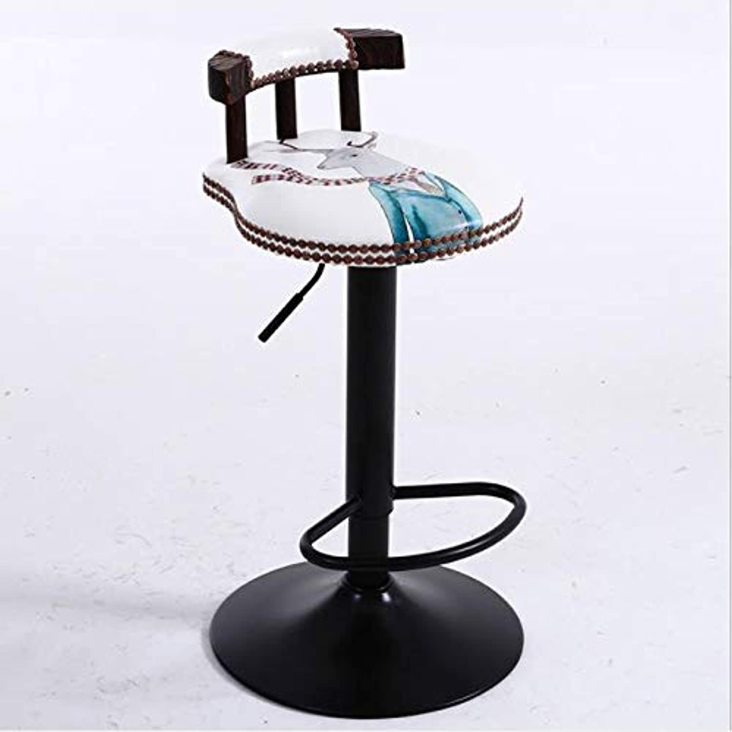 Bar stools Cafe Seat Leisure Bar Chair Vintage Bar Stool, Bar Chair, High Stool, with Backrest Swivel Chair Size  60-80cm Height Chair (color   F)