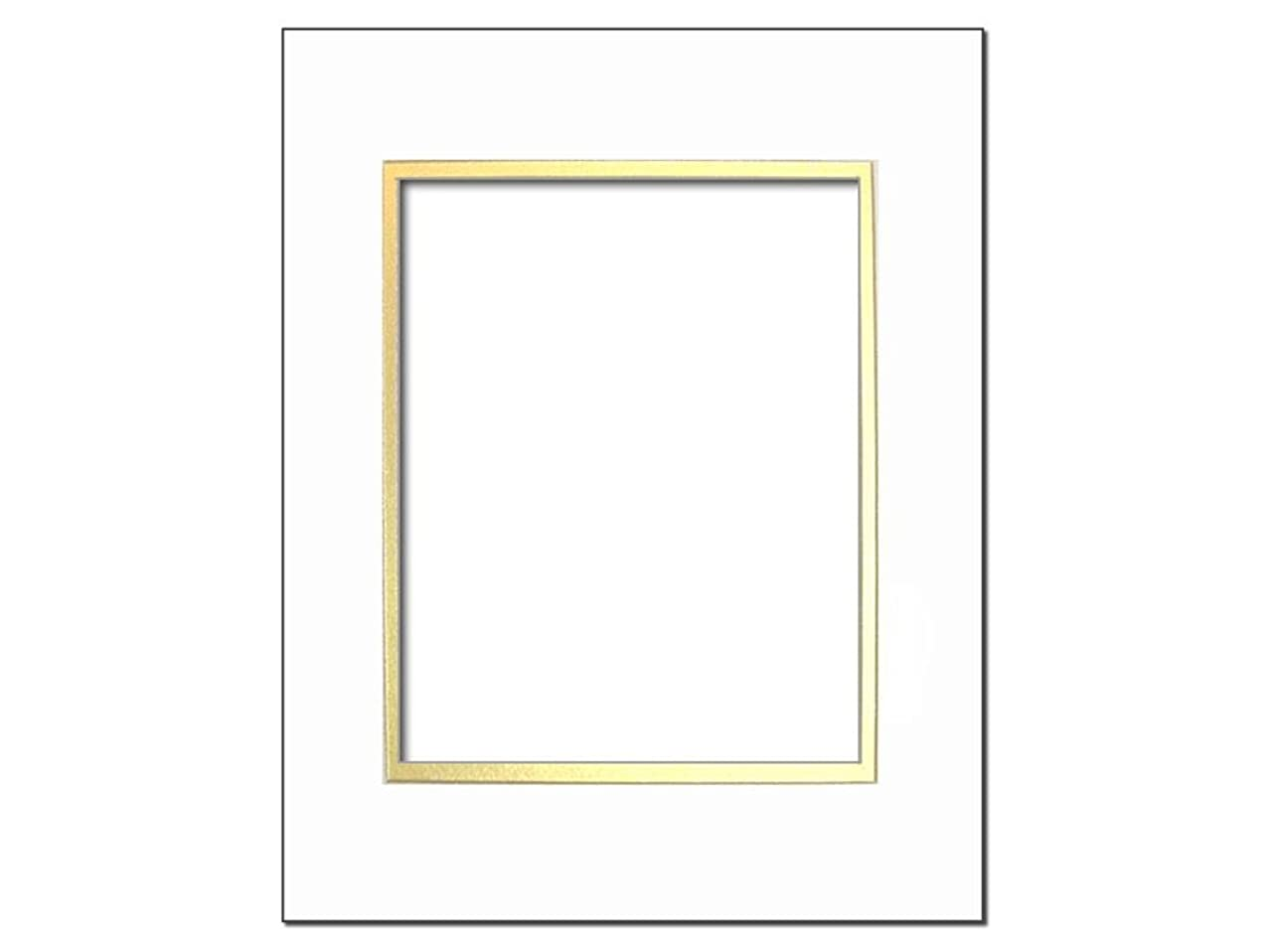PA Framing, Double Mat, 5 x 7 Inches Frame for 3.5 x 5 Inches Photo Art Size - Cream Core/White Upper and Gold Inner Mat