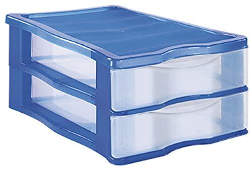 TIENDA EURASIA® Cajonera de Plastico de Sobremesa Apilable - Estructura de Color y Cajones Transparentes - Ideal para organizar el escritorio (Azul, 2 Cajones - 36 x 16,5 x 28 cm)