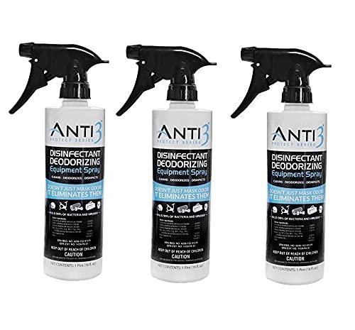 Anti3 Protect Disinfectant Spray, Odor Eliminator & Cleaner, Gym Sanitizing Spray for Equipment, Wrestling Mat, Shoes, Yoga Mats, Multi Surface & Air (3 - 16 Oz. Bottles)
