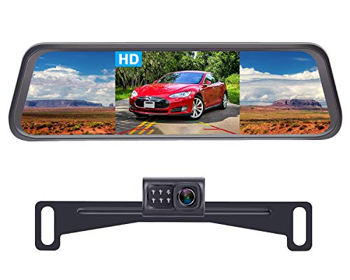 LeeKooLuu LK1 HD Backup Camera with 4.3'' Mirror Monitor Kit for Cars,Vans,Trucks,Campers Hitch Rear View Camera Single Power System IP 69 Waterproof License Plate Camera DIY Backup Guide Lines