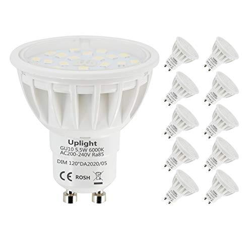 Uplight 5.5W Dimmbar GU10 LED Lampe Kaltweiß 6000K,Ersetz 50-60W GU10 Halogen Lampen,600lm 120° Abstrahlwinkel LED Leuchtmittel Ra85,10er Pack.