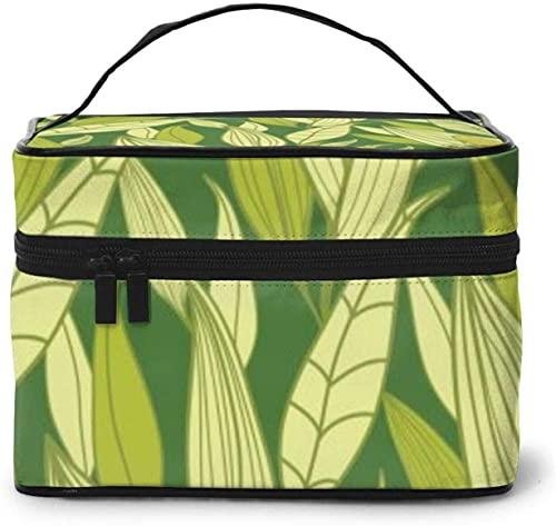 Corncob amarillo lindo maíz (5) diseño grande bolsa de maquillaje para mujer, estuche cosmético portátil, organizador de viaje con cremallera de malla cepillo de bolsillo con asa chica