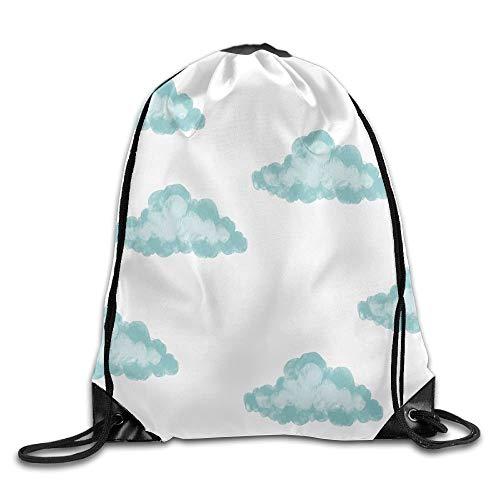 DSGFSQ Sporttaschen Turnbeutel Outdoor Sports Team Drawstring Bag Gym Bags Casual Daypacks - (Cute Blue Cloud)