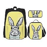 ZHOUWE Mochila de conejo Shouder, bolsa lunc, estuche para lápices, juego de 3 bolsas escolares para niños, Negro, Talla única