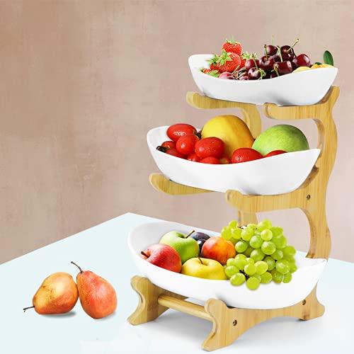 Corbeille à Fruits en Céramique à 3 Etages,Porte-Fruits Céramique 3 Etages avec Support en Bambou Naturel,Bol à Fruits à 3 Niveaux Céramique pour Fruits,Gâteaux, Bonbons