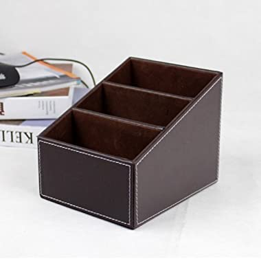 Yariew PU Leather Remote control/controller TV Guide/mail/CD organizer/caddy/holder with (Brown)