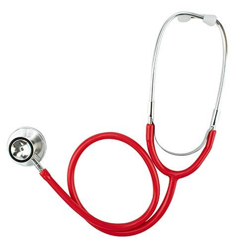 TRIXES Rotes Spielzeug-Stethoskop für Kostüme und finktionabel mit Membran und Glocke wirk Fast wie echt