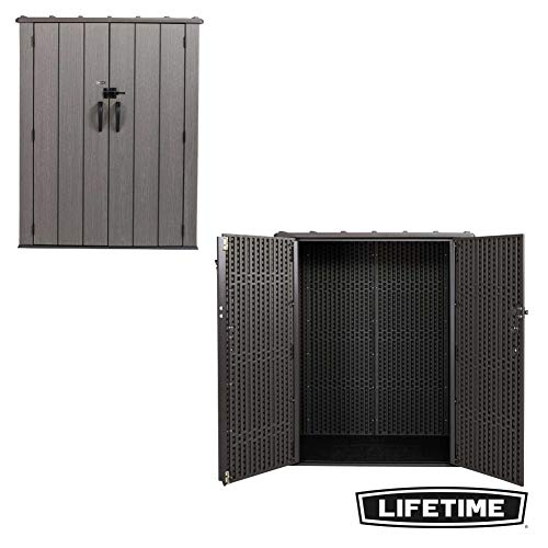Lifetime 60209 Vertical Storage Shed (53 Cubic feet), Roof Brown, 74 x 142 x 174 cm