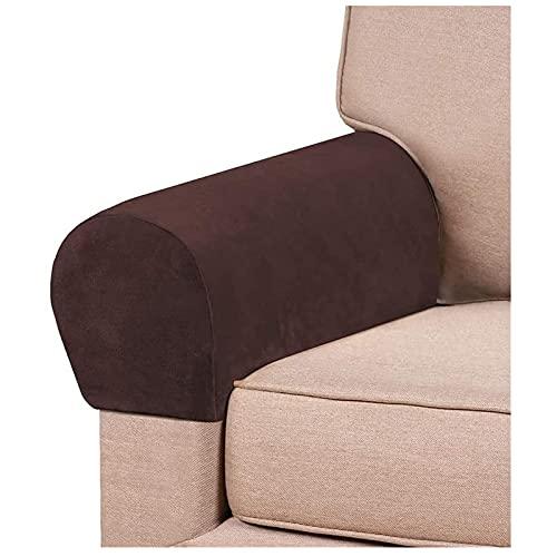 RRNAR Fundas para apoyabrazos sofá reposabrazos Protector Fundas para Brazos de Sofá para Protector de Muebles para sillón reclinable Sofá,Marrón,Set of 2